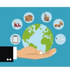 Delivery concept hand holds globe shipping cargo vector