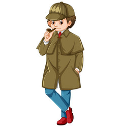 Detective in brown overcoat smoking pipe vector