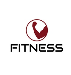 fitness emblem with muscle vector image
