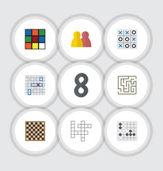 flat icon games set of people cube xo and other vector image vector image