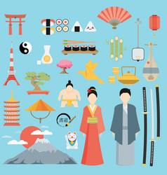 flat japan icons and symbols set on japanese theme vector image vector image