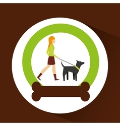 Girl walking a gray dog with strap vector