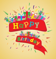 Happy birthday with colorful gift on yellow vector