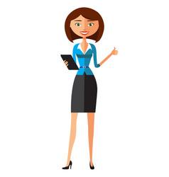 Happy businesswoman using tablet vector
