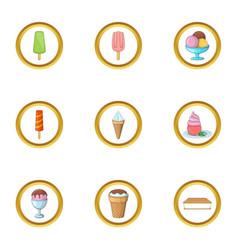 ice cream assortment icons set cartoon style vector image