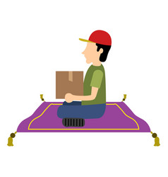 Isolated delivery boy vector