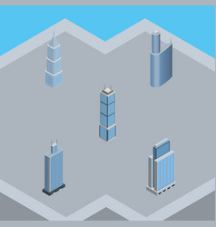 Isometric building set of urban building vector