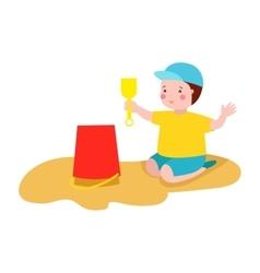 Kid playing sandbox vector image