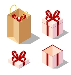 Opened and closed present gift boxes vector
