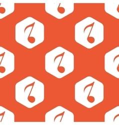 Orange hexagon 8th note pattern vector