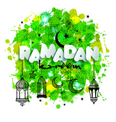 paper text ramadan for congratulations with muslim vector image vector image