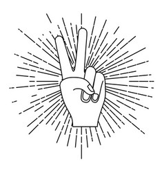 peace hand gesture with linear brightness vector image