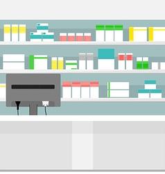 Pharmacy shelves background vector image vector image
