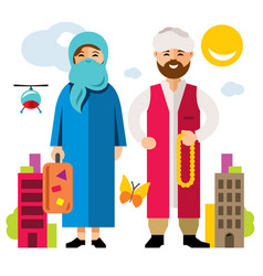 refugee migrants family illegal migration vector image