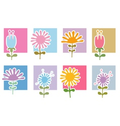 Retro Flowers Icons vector image vector image