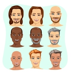 set of male avatar with different hairstyles vector image