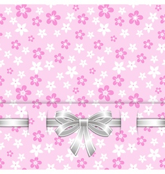 spring card template with bow pink vector image vector image