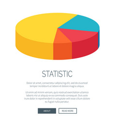statistic presentation with colorful pie chart vector image