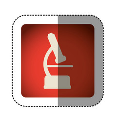 sticker color square with microscope icon vector image vector image