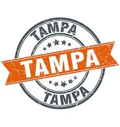 Tampa red round grunge vintage ribbon stamp vector