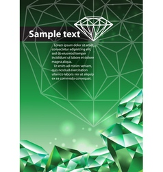 Template with green emerald vector image