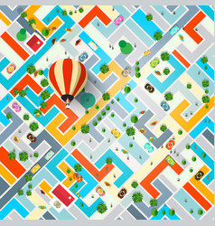 Top view city with hot air balloon town with vector