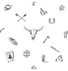 Wild west design sketch pattern vector image vector image