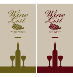 wine list menu with bottle vector image vector image