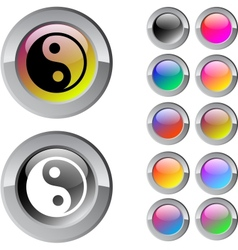 Ying yang multicolor round button vector