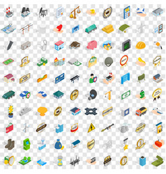 100 corporate icons set isometric 3d style vector