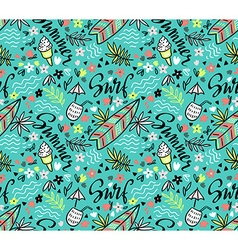tropical bright seamless pattern with surfboard vector image