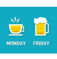 drinks in different day of the week vector image