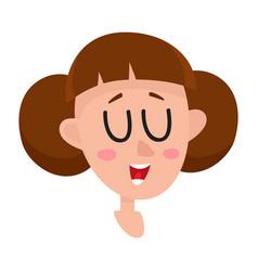 Pretty brown hair woman laughing facial vector