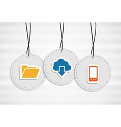Hanging cloud computing badges set vector