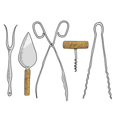 fork for herring or cake spatula asparagus tongs vector image