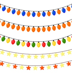 Set of christmas garlands of stars and lanterns vector