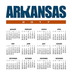 2017 arkansas calendar vector