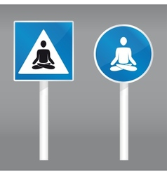 Road sign with meditating person vector