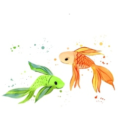 Fish watercolor isolated vector