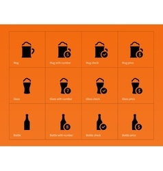 Beer and alcohol glasses icons on orange vector