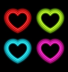 Neon heart signs vector