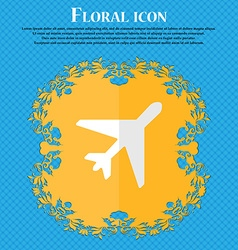Airplane floral flat design on a blue abstract vector