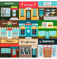 Different kind of food restaurants facade vector