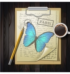 Table top with sketching paper and butterfly vector