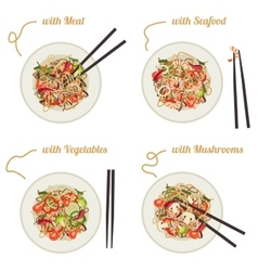 Noodles on plate vector