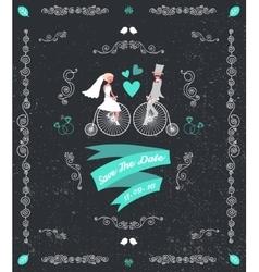 vintage retro wedding invitation hand vector image