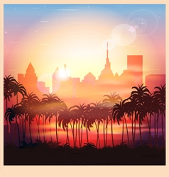 A city at sunrise vector