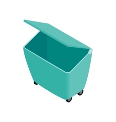 Green garbage container icon isometric 3d style vector