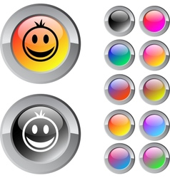 Smiley multicolor round button vector image
