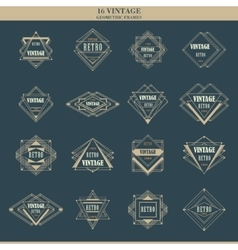 Set of line art deco logotypes frames borders vector